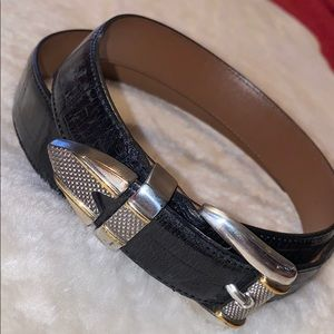 ITALIAN CROC EMBOSSED LEATHER BLACK BELT